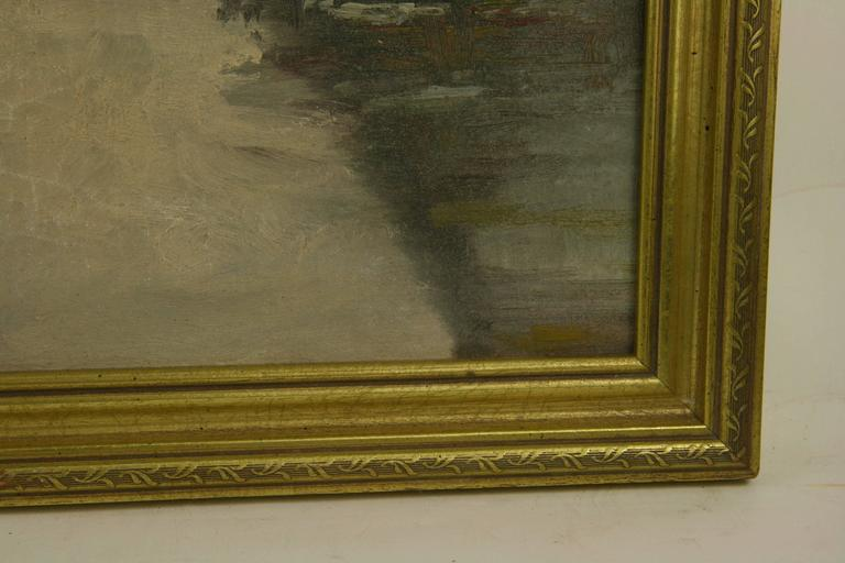 Mid-20th Century Dutch Winter Scene Painting For Sale