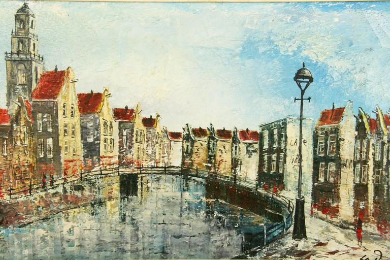 Late 20th Century Dutch Canal Scene Painting For Sale