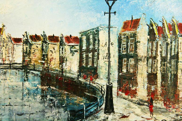 Dutch Canal Scene Painting For Sale 1