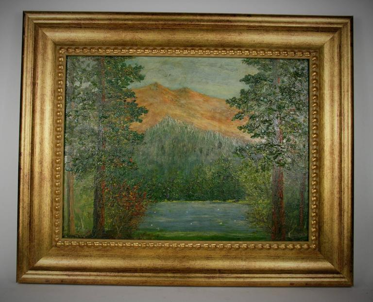 5-2684, impressionist landscape oil painting on masonite by F. Koops set in a 3.5