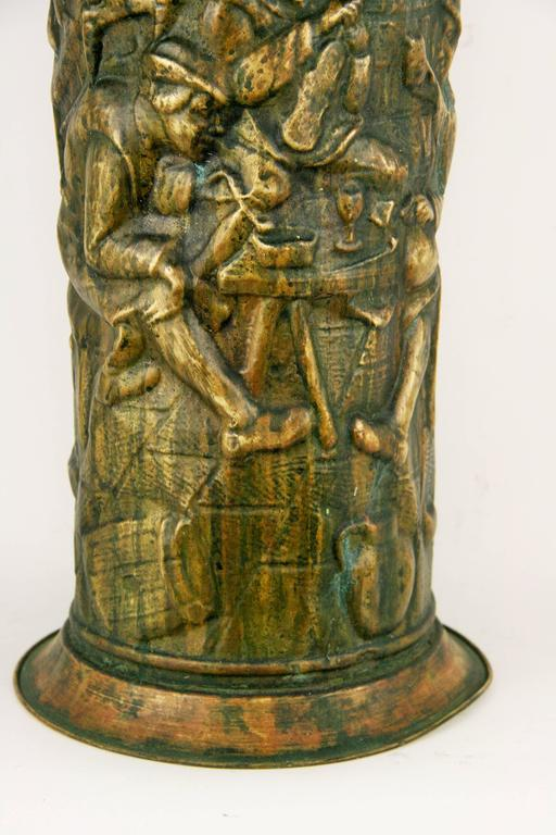 #9-420, English brass embossed umbrella stand in its original patina.