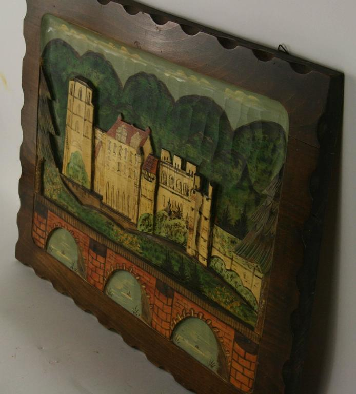 9-231, Black Forest hand-carved  painted wall plaque. Hanging hardware on back. Age wear.