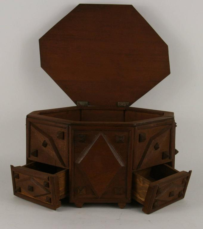 9-227, Tramp Art wood box with three small drawers and hinged top. Age wear.