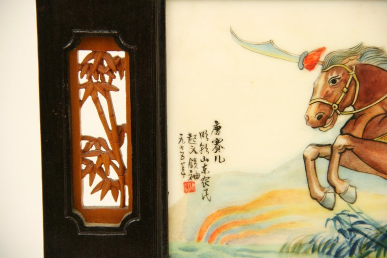 9-443, hand-painted marble panel set in a wood frame.