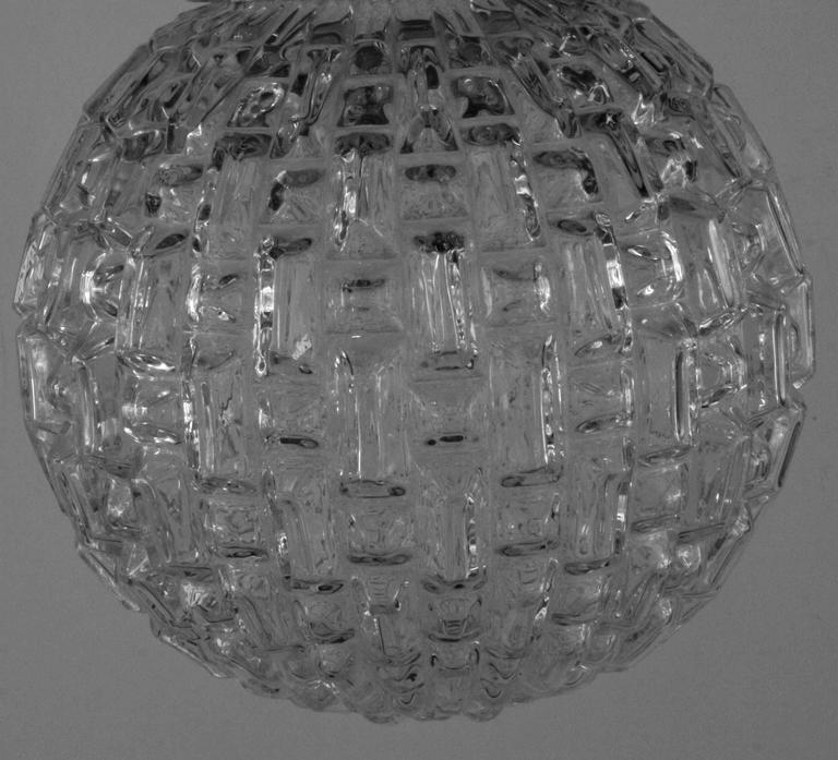 Geometric Mid Century Glass Pendant In Excellent Condition For Sale In Douglas Manor, NY