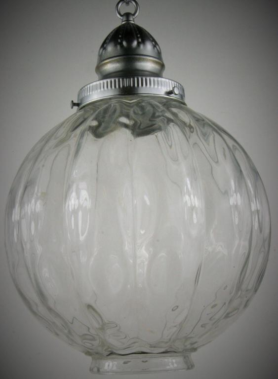 Mid Century Ribbed Wavey Glass Pendant 2