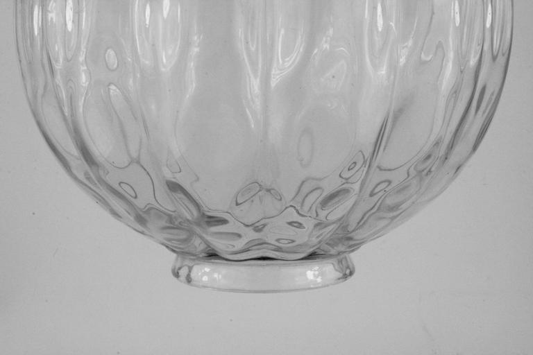 Mid Century Ribbed Wavey Glass Pendant 3