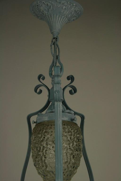 European Pale Blue Pendant Light For Sale