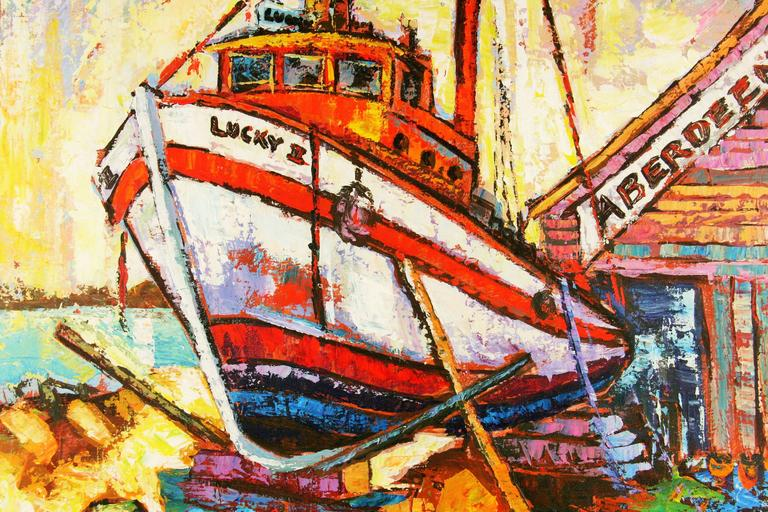 5-2408 Colorful acrylic abstract on canvas of a boat in dry dock by Newsom. Unframed acrylic on stretched canvas