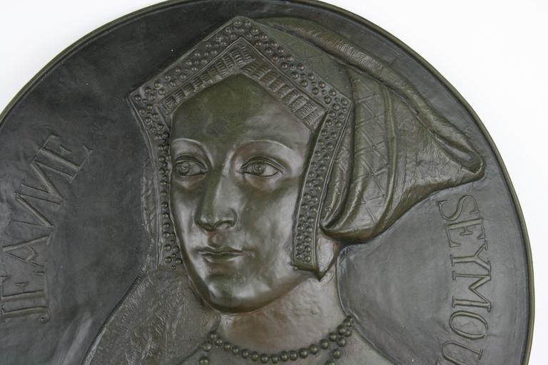 9-236 antique metal sculptural wall plaque of Jane Seymour wife of King Henry 8th of England.