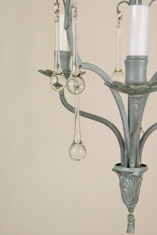 French Gray Crystal Drop Chandelier In Excellent Condition For Sale In Douglas Manor, NY