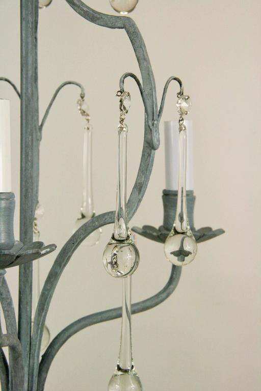 French Gray Crystal Drop Chandelier For Sale 1