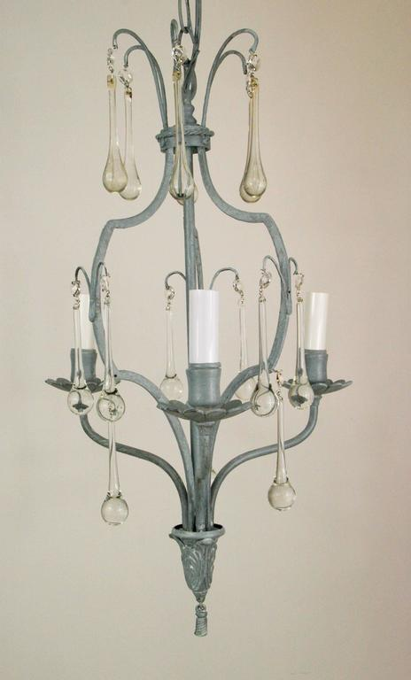 French Gray Crystal Drop Chandelier For Sale 2