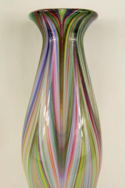 Moderne fluted cased glass vase. No makers marks. Light wear.