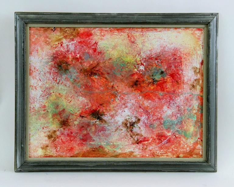 5-2477 acrylic on artist board abstract painting. Displayed in a silvered-gray wood frame.
