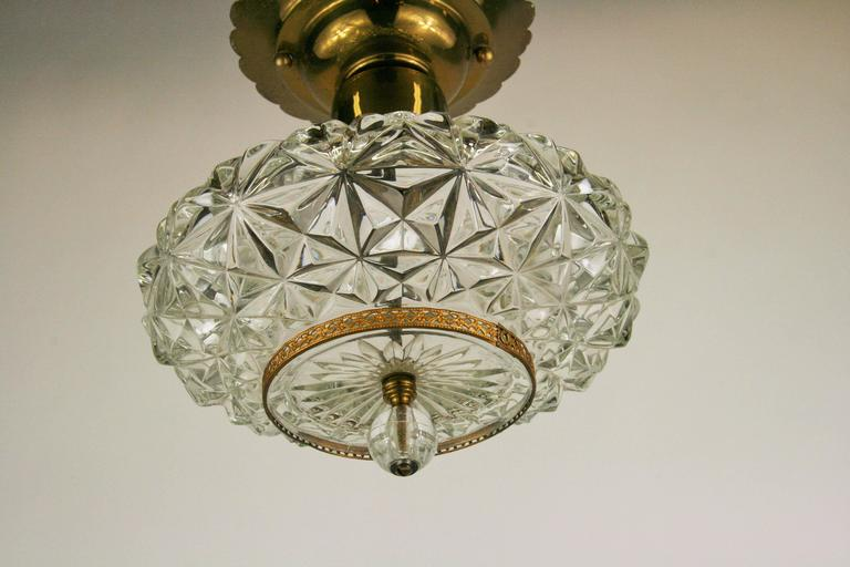 Faceted Glass Ceiling Fixture In Good Condition For Sale In Douglas Manor, NY