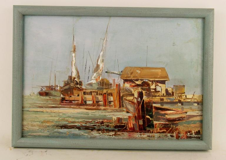 Harbor Scene By Mogul In Excellent Condition For Sale In Douglas Manor, NY