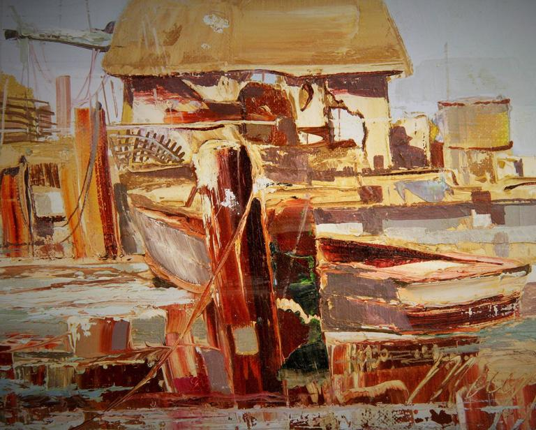 Late 20th Century  Harbor Scene By Mogul For Sale