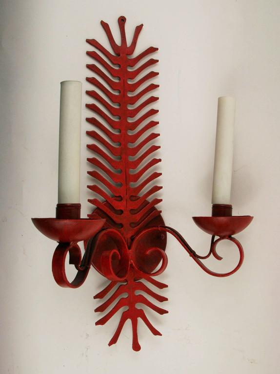 #2-1811, a double arm wrought iron hand-painted fern single sconce. Newly rewired.
