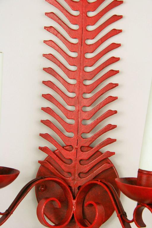 Red Fern Single Sconce In Good Condition For Sale In Douglas Manor, NY
