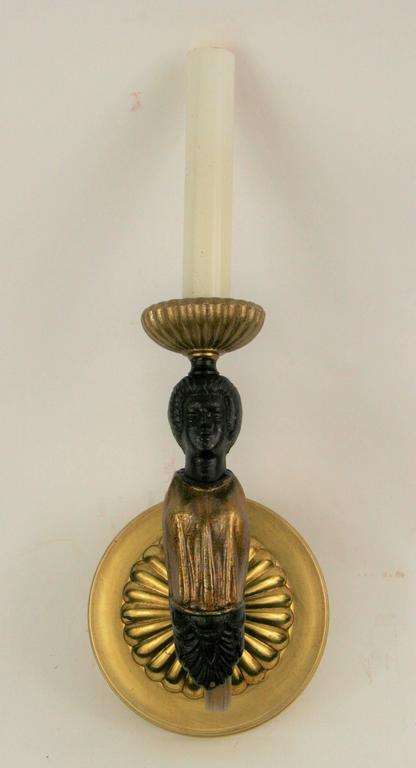 Mid-20th Century Pair of Figural Single Arm Sconce For Sale