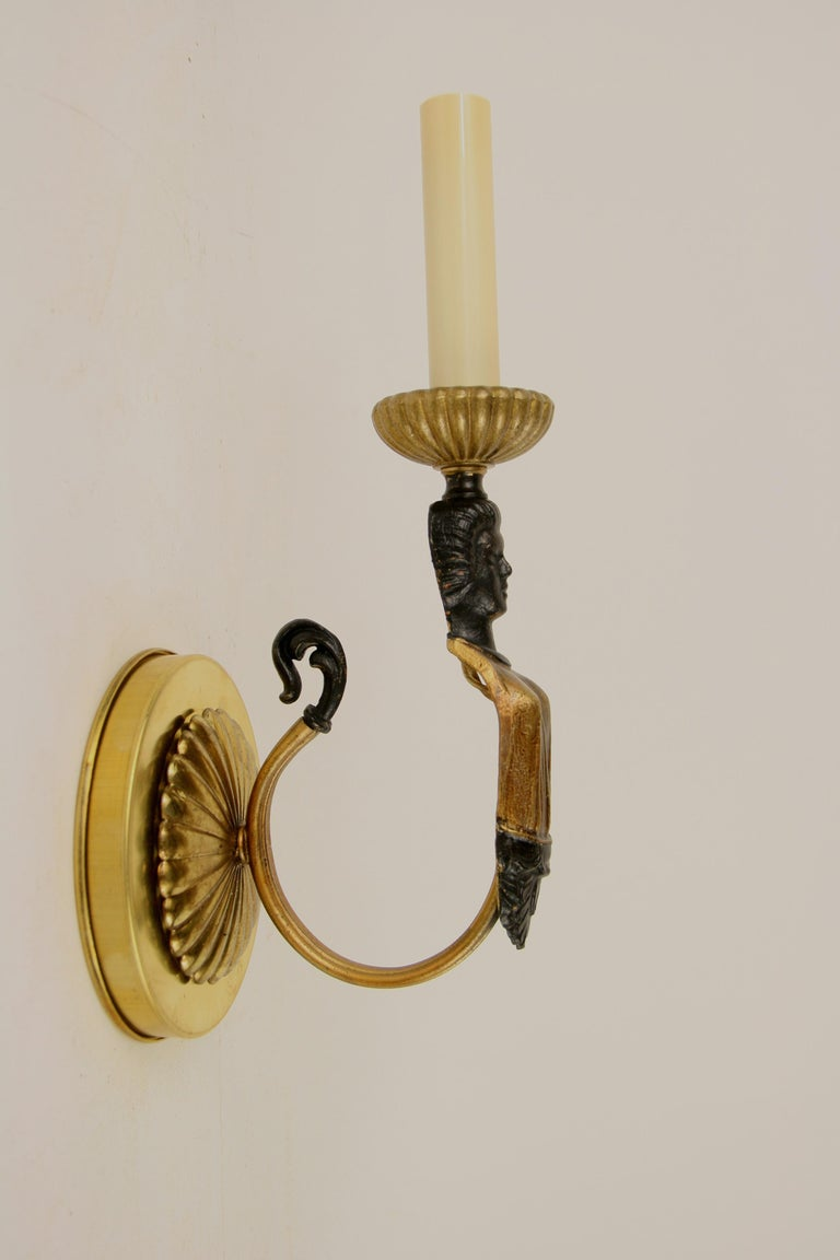 Pair of Figural Single Arm Sconce For Sale 2