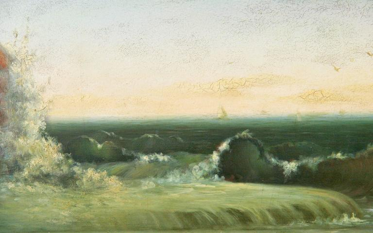 Seascape Oil Painting, circa 1920s In Good Condition For Sale In Douglas Manor, NY
