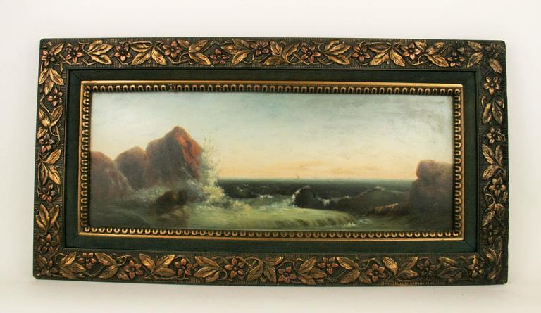 Wood Seascape Oil Painting, circa 1920s For Sale