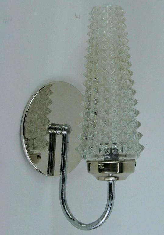 Mid-20th Century Pair of Mid Century  Rostrato Glass Sconce For Sale