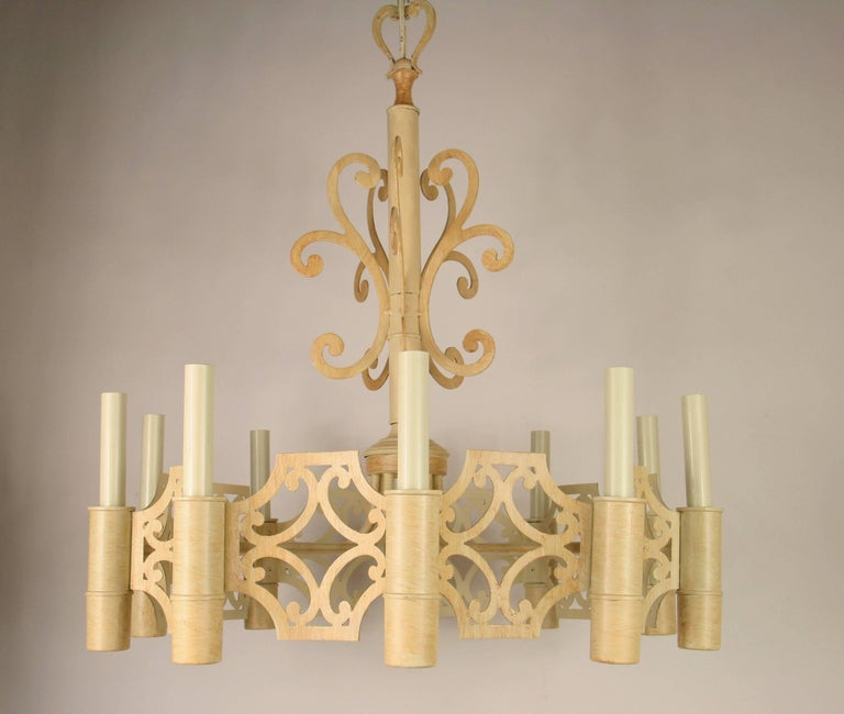 1-3044 Hand painted Mid Century ten-light chandelier. Take 10  25watt max candelabra based bulbs