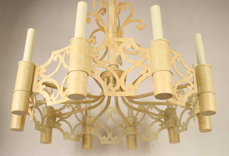 Mid-20th Century Mid-Century Ten-Light Chandelier For Sale