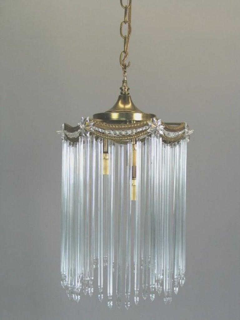 #1-1754 three internal light Austrian crystal pendant. Takes 3 40 watt candelabra based bulbs.