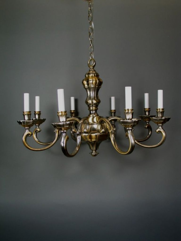 #1-1895. The two-tone polished brass and nickel finish gives a contemporary feeling to a Classic fixture.