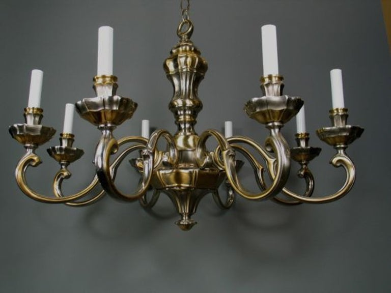 Italian LIGHTING SALE UP TO 50% OFF SELECTED ITEMS   Brass and Nickel Chandelier For Sale