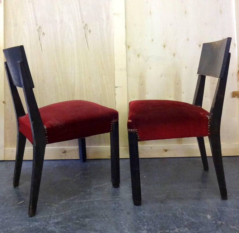 Art Deco Set of Four Blackened Oak Chairs by Charles Dudouyt For Sale