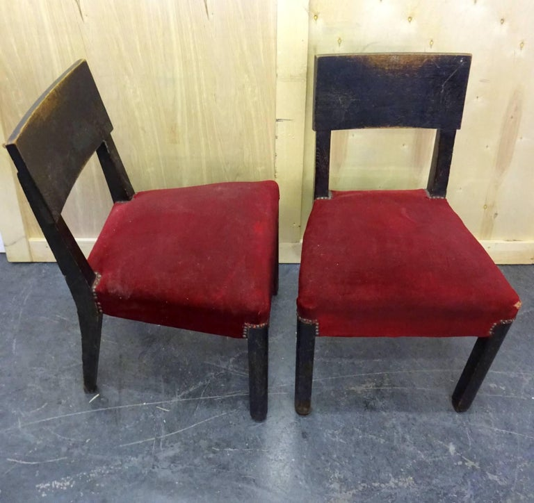 Set of Four Blackened Oak Chairs by Charles Dudouyt In Good Condition For Sale In Brooklyn, NY