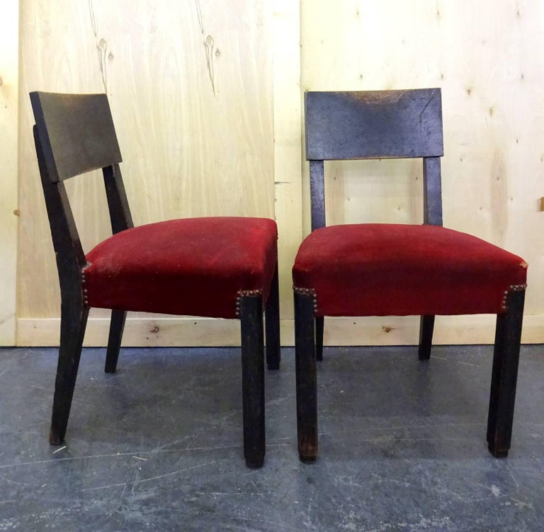 French Set of Four Blackened Oak Chairs by Charles Dudouyt For Sale