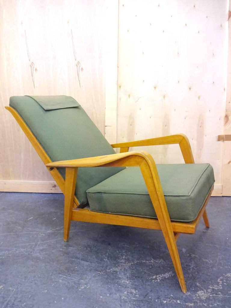 Mid-Century Modern Pair of Reclining Armchairs by Etienne Henri Martin For Sale