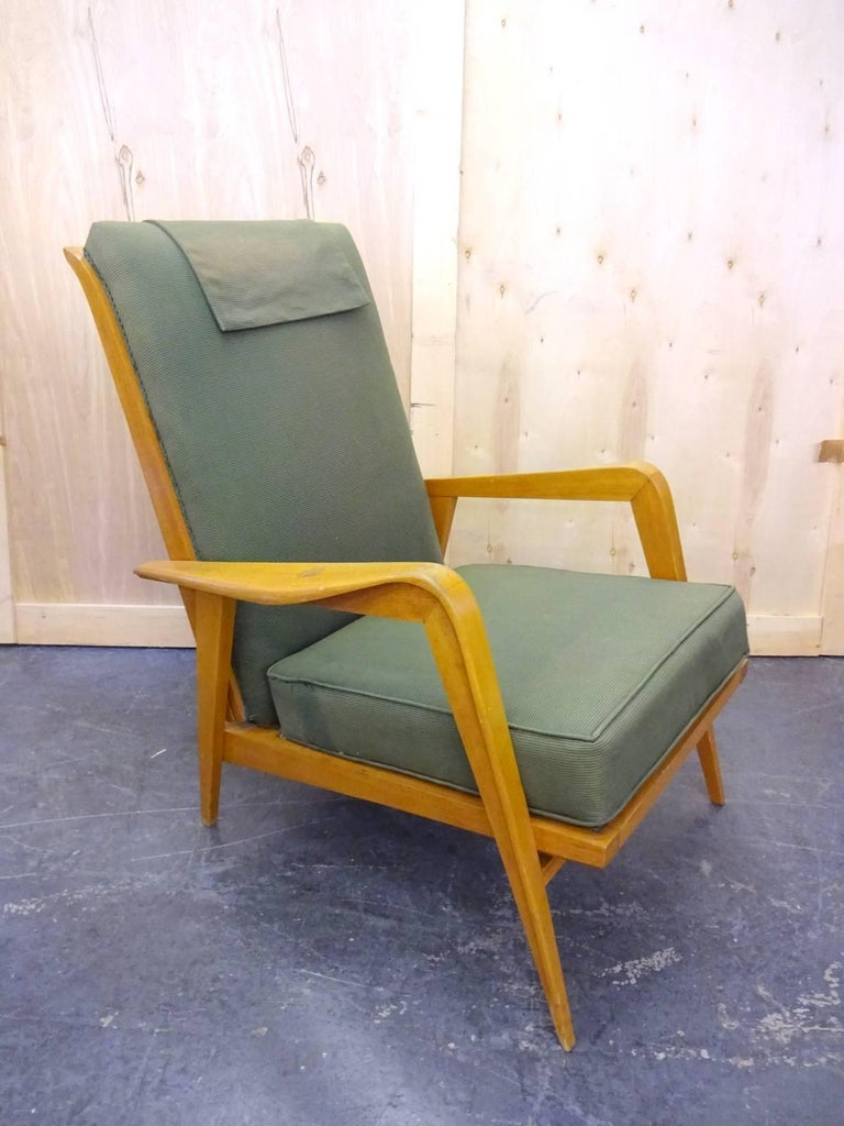 Pair of French, 1950s chairs in original condition.  Located in Brooklyn.