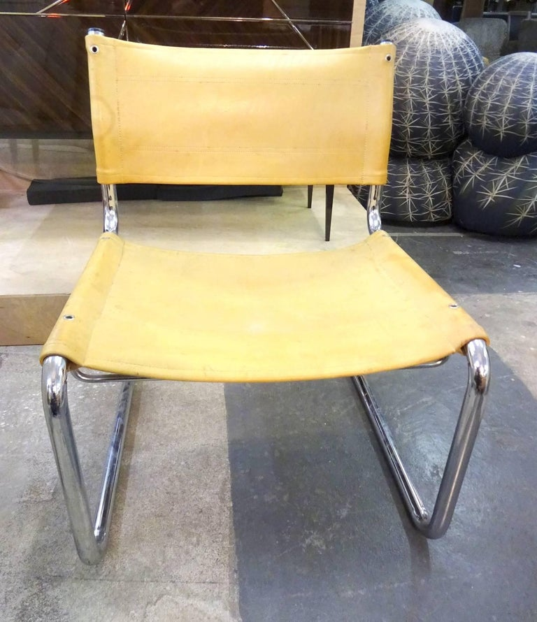 Pair of Leather Tubular Chairs  In Good Condition For Sale In Brooklyn, NY