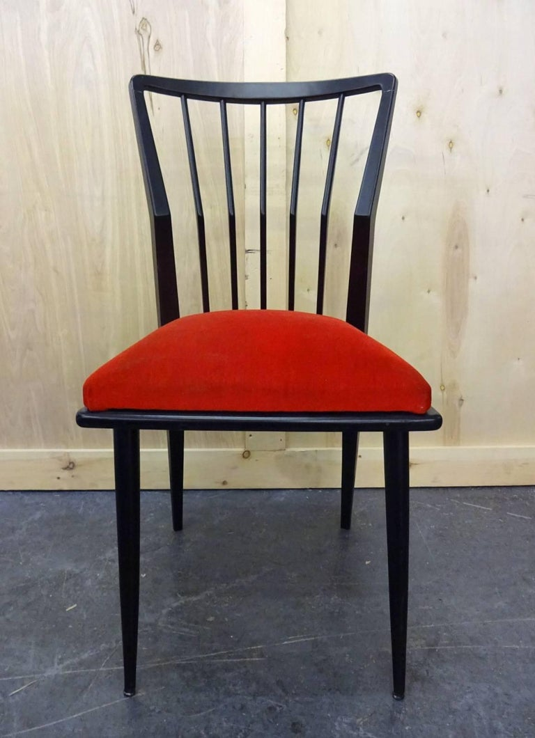 Mid-Century Modern Set of Four Italian Chairs  For Sale