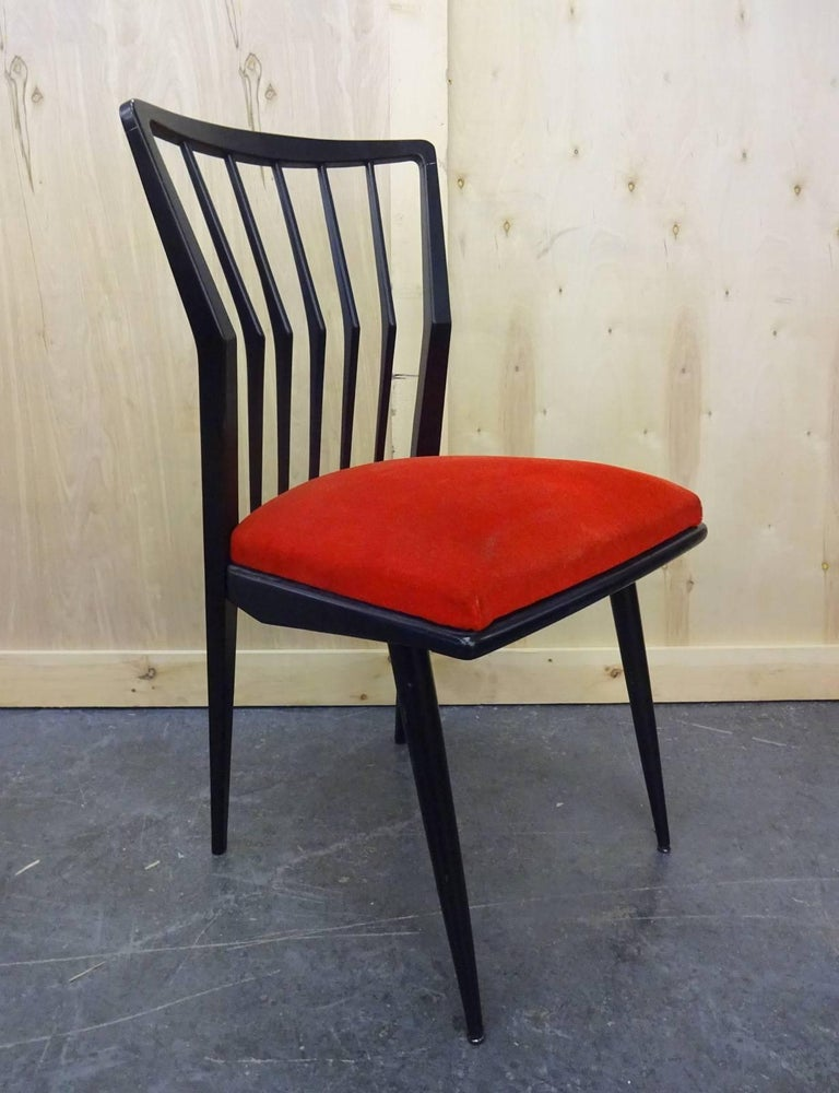 Lacquered Set of Four Italian Chairs  For Sale
