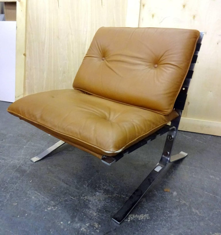Olivier Mourgue joker leather armchair located in Brooklyn.