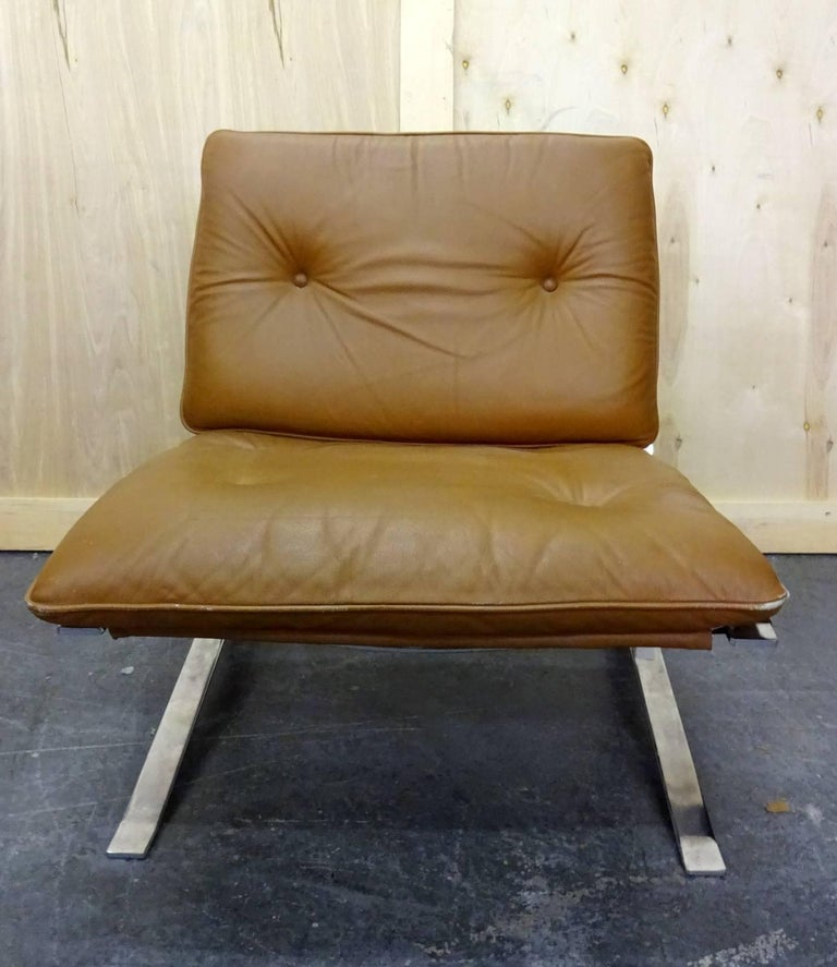 Olivier Mourgue Joker Leather Armchair In Good Condition For Sale In Brooklyn, NY