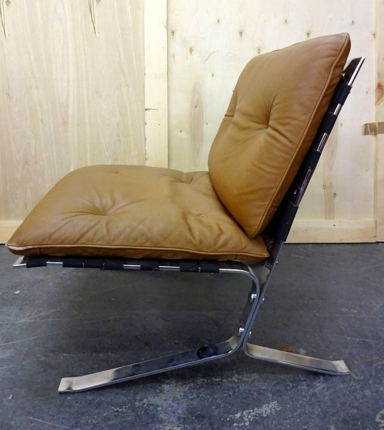Mid-Century Modern Olivier Mourgue Joker Leather Armchair For Sale