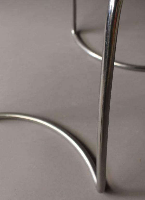Six French 1940s Tubular Chromed Base Stools For Sale At