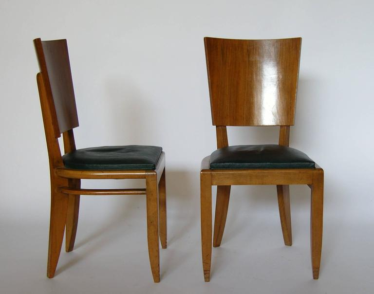 Set of Six French Art Deco Beech and Walnut Dining Chairs For Sale 2