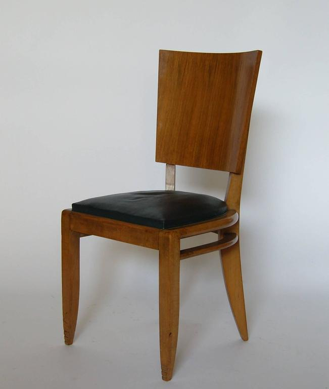Set of Six French Art Deco Beech and Walnut Dining Chairs In Good Condition For Sale In Long Island City, NY