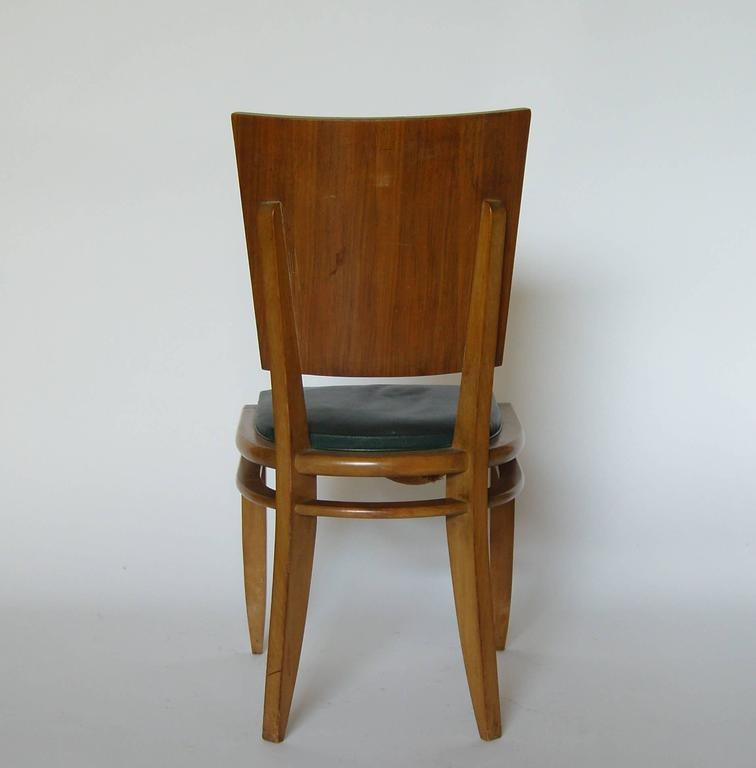 Set of Six French Art Deco Beech and Walnut Dining Chairs For Sale 1