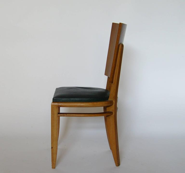 Mid-20th Century Set of Six French Art Deco Beech and Walnut Dining Chairs For Sale